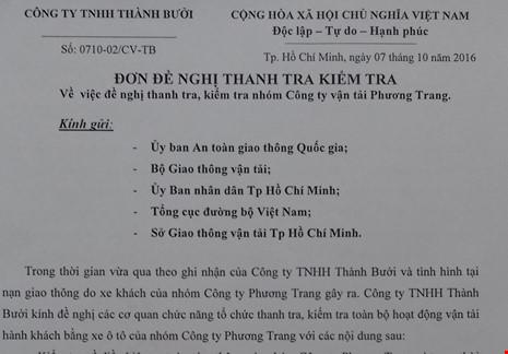 Đơn đề nghị thanh tra hãng xe Phương Trang được hãng xe Thành Bưởi gửi năm cơ quan