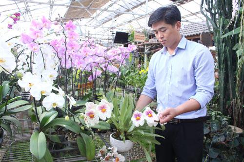 Phan Thanh Sang bên các loại hoa phong lan do anh nghiên cứu, lai tạo... Ảnh: Q.H